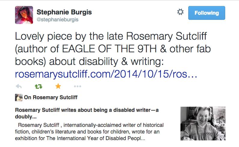 Rosemary Sutcliff tweet