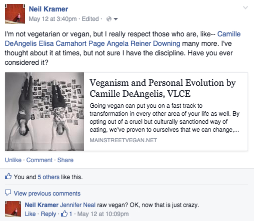 neil vegan fb post